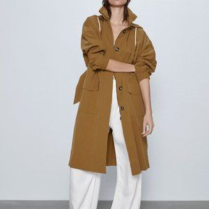 Zara HOODED TRENCH-long coat-DARK CAMEL-0518/264